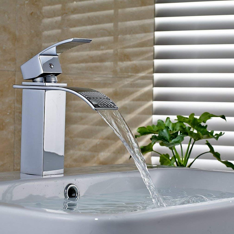 BMY GZ-Waterfall Basin Sink Mixer Tap Bathroom Lever Single Handle Chrome Leadless Brass Faucet