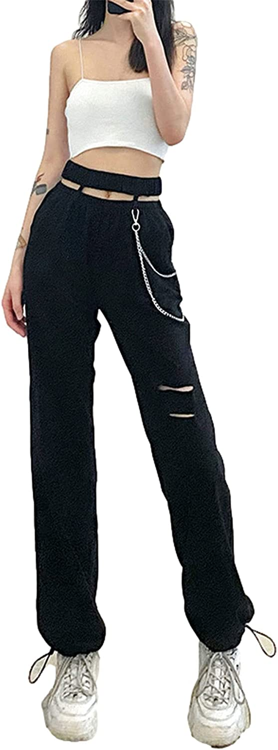 Women Casual Loose Style Pants with Decorative Chain, Personality Black Solid Color High Waist Hollow Out Trousers