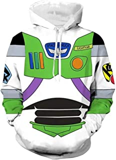 haopangshui Hombres Hoodies Chaqueta por Toy-Story 3D Impresión Buzz Lightyear-Fan Cremallera Sweatshirts Tops Teenager / A1 / XL