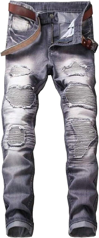 c389c57c0c6b Qiangjinjiu Men's Ripped Skinny Distressed Destroyed Slim Fit Stretch Biker  Jeans Pants with Hole 5d7c9f