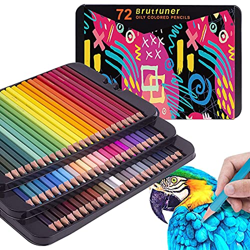 72 Colouring Pencils Tin - Perfect for Adult Colouring Books,...