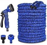 Koqit Flexibler Gartenschlauch, Gartenschläuche Flexibler 15m 50FT Flexibler Basic Wasserschlauch Flexible dehnbarer Flexischlauch Multisfunktionsbrause mit 7 Funktionen für Garten Blau