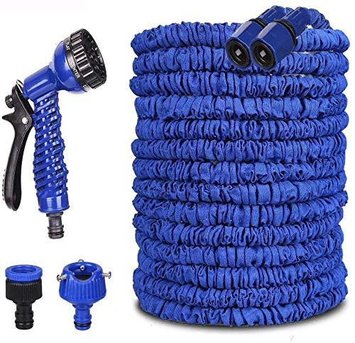 Koqit Manguera de jardín flexible, 30 m, 50 m, manguera de agua flexible, extensible, con 7 funciones, para jardín, color azul