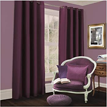"""Aubergine/Purple, width 66"""" x Drop 90"""", Faux Silk Eyelet/Ring Top lined  curtains by Viceroybedding: Amazon.co.uk: Kitchen & Home"""
