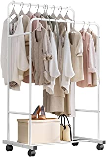 Garment Clothing Racks Clothes Rail Stand Double Rail with Bottom Storage Shelf Rolling Wheel Movable for Storing Cloth Sh...