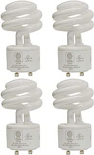 SleekLighting - 13Watt GU24 Base 2 prong light bulbs-120v 60Hz - Mini Twist Lock Spiral -Self Ballasted CFL Two Pin Fluorescent Bulbs- 3500K 900lm Neutral White 4pack (60Watt Equivalent)UL Listed & ES