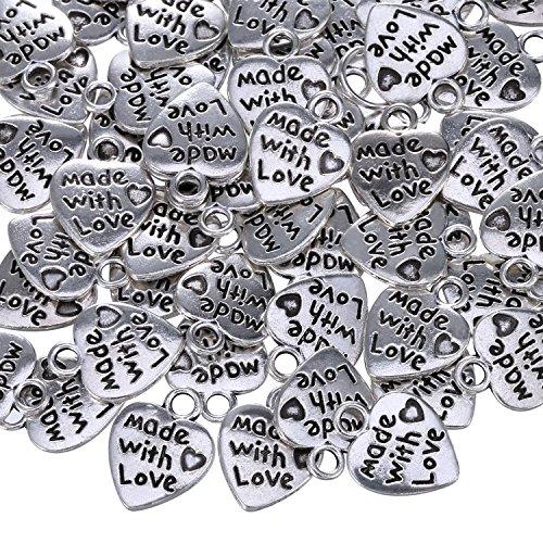 Sumind 60 Stück Antique Silbern Herz Charm Made with Love Charm Anhänger für DIY Handwerk Schmuck Herstellung Findings Zubehör