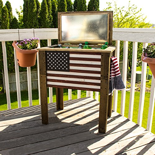BACKYARD EXPRESSIONS PATIO · HOME · GARDEN 909939 Wooden American Flag Patio Beverage Cooler for Outdoors, 57 Quart