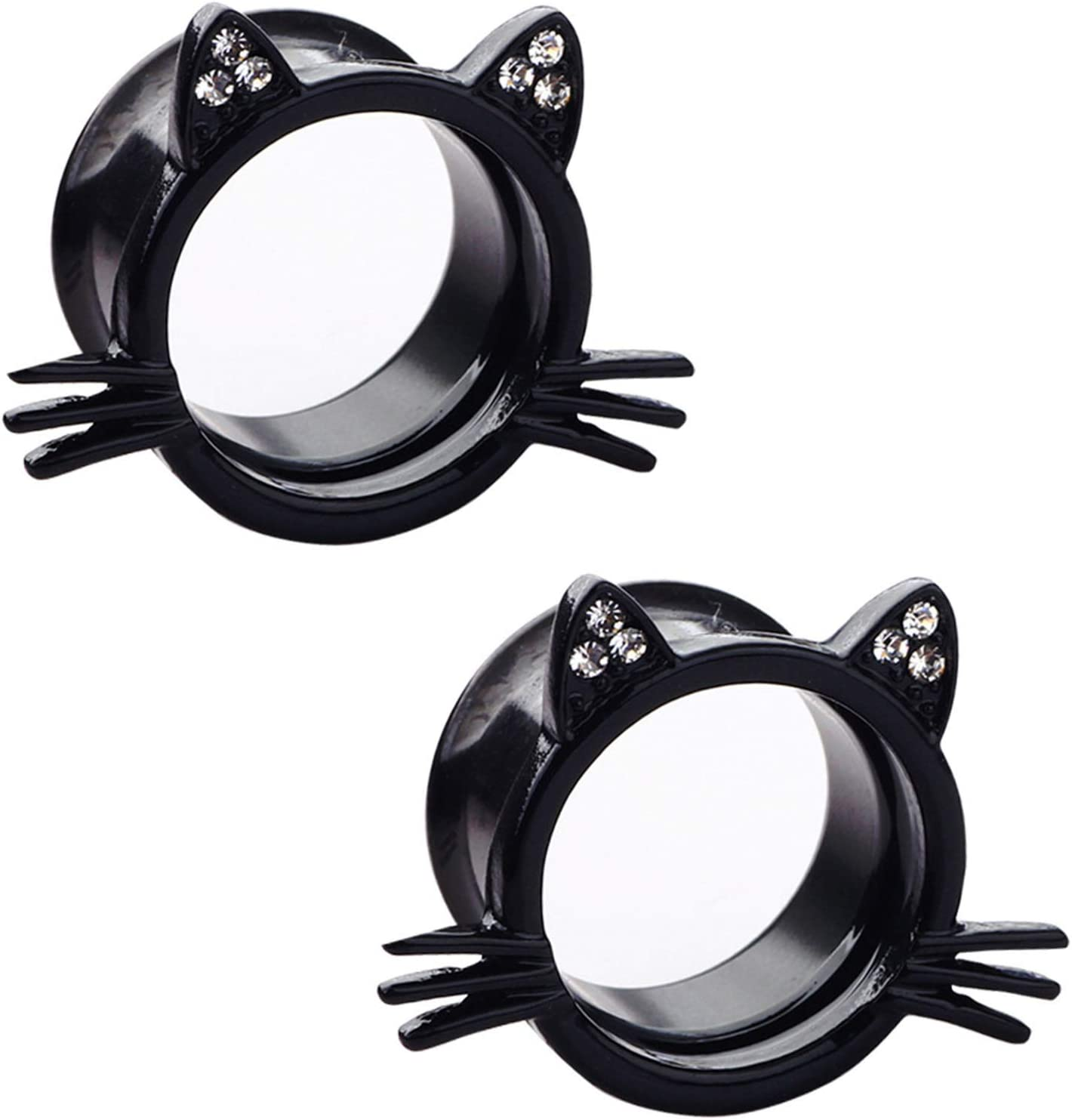 ALONG-J 1 Pair Screw Ear Tunnels We OFFer at cheap prices Cat Stainless Plugs Steel Outstanding Cute