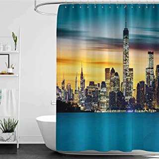 homecoco Shower Curtains Grey Prime Landscape,Sunrise Over New York Skyscrapers City Lights Urban Life Statue of Liberty Photo,Blue Yellow W69 x L90,Shower Curtain for Bathroom