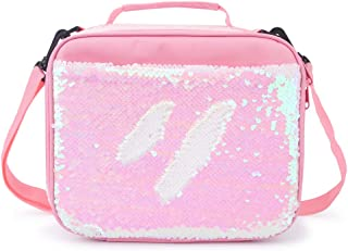 Flip Sequin Insulated Lunch Bag Durable Thermal Reusable Lunch Tote Glitter Mermaid Lunch Box for Girls(Pink)