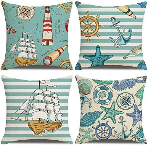 4 Pack Cuscini Divano cicalino oceano Cotone Biancheria Decorativo Copricuscini Divano 45x45 cm (D)