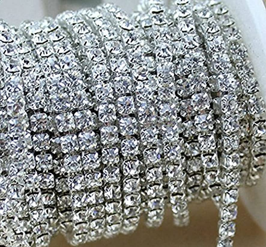 Rhumen Crystal Rhinestone Close Chain Clear Trim 10 Yard Sewing Craft, 2mm - Silver color. (Silver)