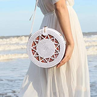 Handwoven Round Rattan Bag, Hamkaw Natural Handmade Woven Purse Ins Straw Crossbody Bag for Women with Leather Shoulder Strap