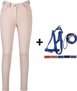 HR Farm Ladies Middle Rise Knee Patch Silicone Knit Breeches Women Riding Pants Dog Leash Set