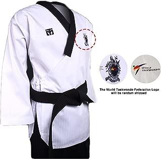 Mooto Korea Taekwondo Poomsae Dan Uniform Male Dobok Black Neck MMA Martial Arts Kukkiwon WTF or WT Logo Gym School Academy Match Poom Training