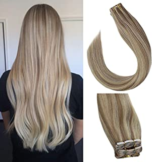 Sunny 14 inch Tape in Hair Extensions Human Hair Blonde Highlights #18/613 Natural Straight Remy Human Hair Tape in Hair Extensions Real Hair Extensions 20 pcs/50g