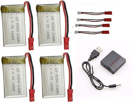 kit 4 Bateria 600mah E Carregador 5x1 para Drone Inspire Fq777 Ml2123 e similares