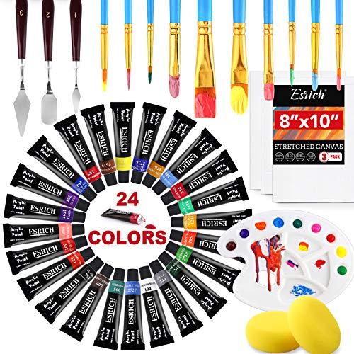 Acrylic Paint Set,43PCS with 24colors Acrylic Paint,10 Brushes,1 Palette, 3...