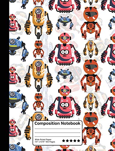 Cartoon Robots Future Robotics Science Composition Notebook: Wide Ruled Line Paper Notebook for Scho
