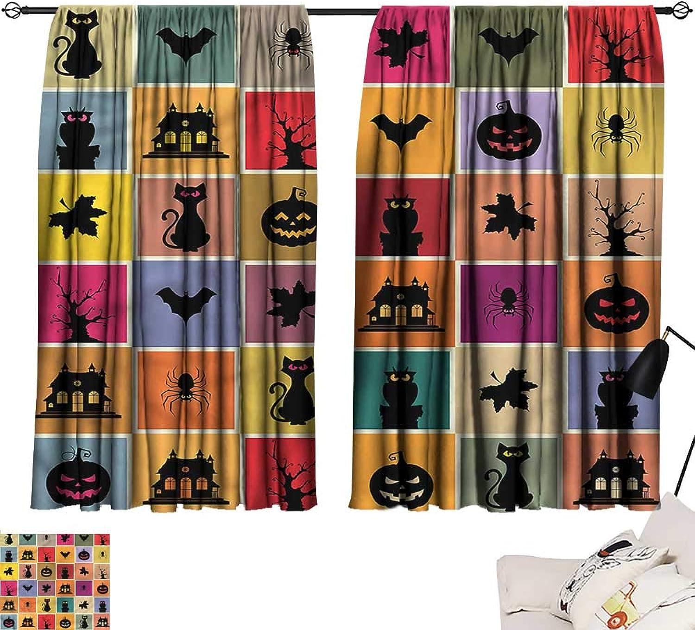 Jinguizi Bedroom Living Darkening Curtains Vintage Halloween,Bats Cats Owls,Night Curtain Kids W55 x L63