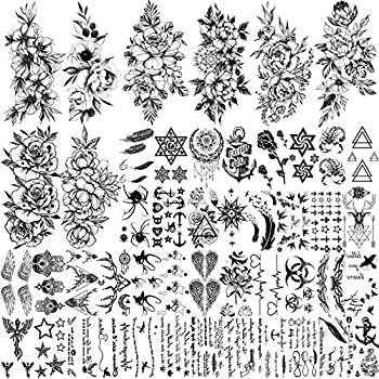 FANRUI 48 Sheets Sexy Black Sketch Flowers Temporary Tattoos For Women Floral Blossom Design Realistic Words Quotes Letters Tattoos Temporary Fake Arm Neck Leg Tattoo Sticker For Men Kids Tatoo Kit