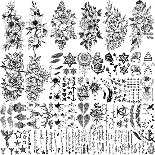 FANRUI 48 Sheets Sexy Black Sketch Flowers Temporary Tattoos For Women Floral Blossom Design, Realistic Words Quotes Letters Tattoos Temporary, Fake Arm Neck Leg Tattoo Sticker For Men Kids Tatoo Kit