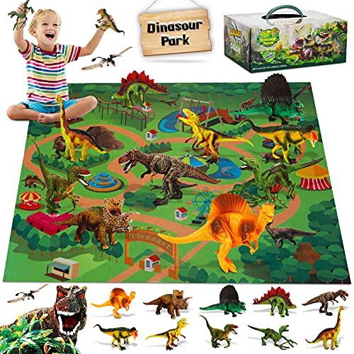 Fivejoy Juguetes de Dinosaurios, Dinosaurios Juguetes, Figuras de Dinosaurios Realistas, Juego Educativo de Dinosaurios con Tapete de Juego de Actividades para Crear un Mundo de Dinosaurios Cumpleaño