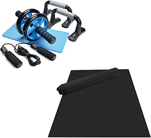 lowest Odoland Large Yoga Mat 78.7'' discount x 51.2'' (6.56'x4.26') x6mm for Pilates Stretching Home Gym Workout, Black, discount and 4-in-1 AB Wheel Roller Kit AB Roller Pro sale