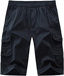 Loyomobak Men Classic Multi Pockets Plain Elastic Waist Sport Cargo Shorts