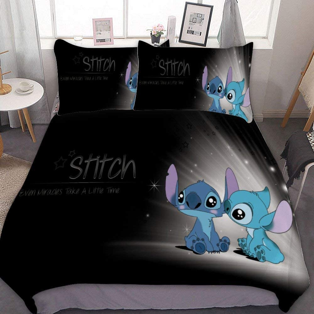 Mew Anime Bedding Duvet Cover Set Twin 68x86 Inch Lilo Stitch 8 3 Pieces Bedding Set With Zipper Closure And 2 Pillow Shams Cute Cartoon Bedroom Comforter Sets For Boys Girls Home Kitchen