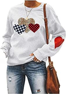 HEFASDM Women Leopard Printed Relaxed Crewneck Sweatshirts T-Shirt Top