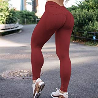 Jinqiuyuan Women High Waist Fitness Leggings Workout Leggings Feminina Push Up Solid Pocket Leggings Mujer 7 Color (Color : Wine, Size : S)