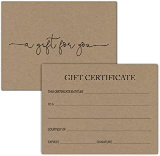 24 Gift Certificate Voucher for Salon Spa Small Business (Kraft)