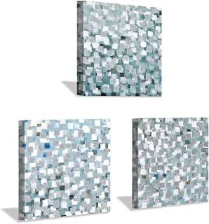 Abstract Square Wall Art Print: Silver Pattern Artwork Painting on Wrapped Canvas for Living Room Decoration (12'' x 12'' x 3 Panels)
