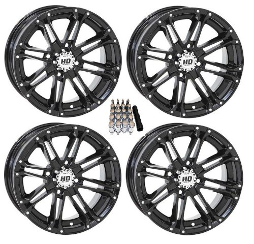 4 STI HD3 ATV Wheels//Rims Black 14 Kawasaki Teryx Mule