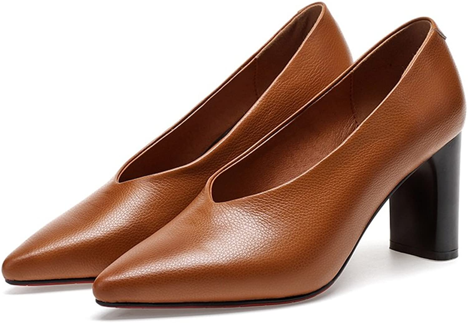 YUBIN Spring Youth Wild Rough with A Single shoes Female Fashion V Mouth Grandma shoes Leather Female shoes Pointed High Heels (color   Brown, Size   36)