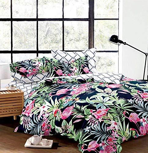 FEBE Microfaser doppelseitige Bettwäsche   200x200cm   Flamingos-Muster   3-Teilig Bettbezug-Set mit Reißveschluss   Schlafkomfort & Modernes Design   Waschmaschinenfest
