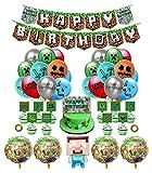 smileh Decoracion Cumpleaños Gaming Globos Pancarta de Cumpleaños de Pixel Para Fiestas Adornos para Pastel Banner Cumpleaños Videojuegos Decoraciones