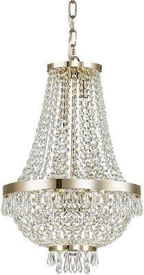 Lampada a sospensione con 6 luci modello CAESAR SP6 ORO Ideal Lux Questa lampada ha una montatura in metallo con finitura in oro Elementi decorativi in cristallo molato