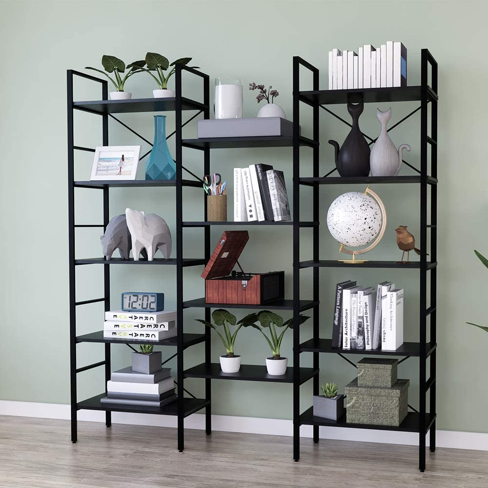 SUPERJARE Triple Wide 5-Tier Bookshelf Black Wood and Metal Bookcase Furniture for Home /& Office Rustic Industrial Style Book Shelf