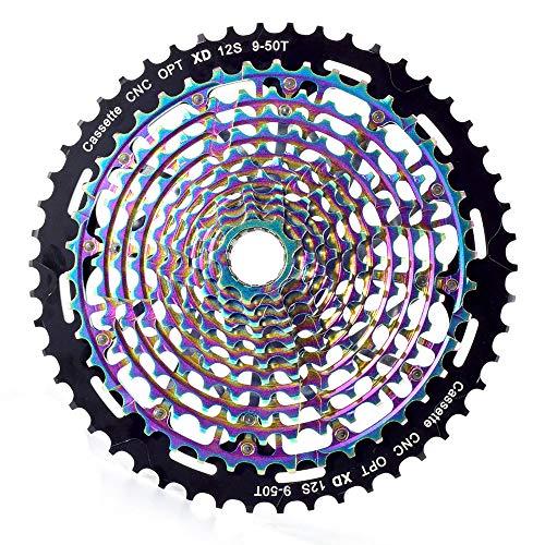 Mountain Bike Cassetta A 12 Velocità 9-50T Ruota Libera Ultraleggera Per Bicicletta Colorata In Acciaio Resistente Per S-R-A-M S-H-I-M-A-N-O Trasmissione Volano Per Bicicletta Accessori Di Ricambio