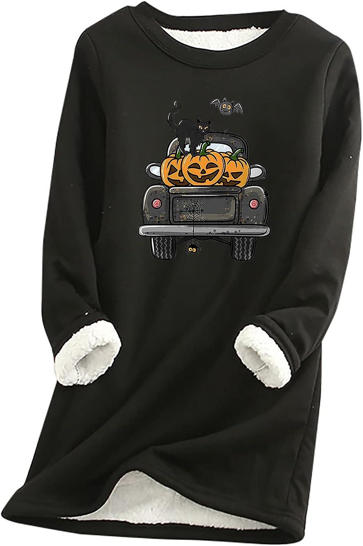 Women Halloween Sherpa Lined Sweatshirt Pullover Casual Crewneck Long Sleeves Printted Fleece Warm Blouse Tops