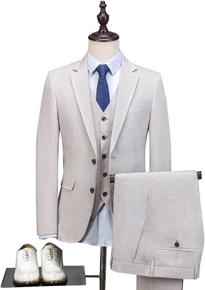 3 Pieces Linen Men's Suits GroomTuxedo Casual Blue Linen Jacket Prom Blazer WeddingSuits