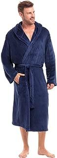 Men's Lightweight Fleece Robe with Hood, Soft Bathrobe