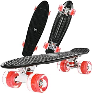 "ToyerBee Skateboards 22""with Colorful LED Light Up Wheels, Complete Skateboard with A Repair Kit. Mini Cruiser Skateboard for Beginners/Pro, Plastic Penny Board for Boys/Girls/Kids/Adult"