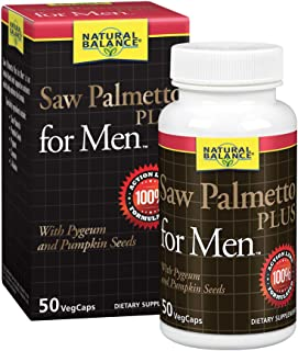 Natural Balance Saw Palmetto Plus for Men's Prostate Health | Urinary Frequency & Flow Support w/Pygeum & Pumpkin Seeds | 50 VegCaps, 25 Servings