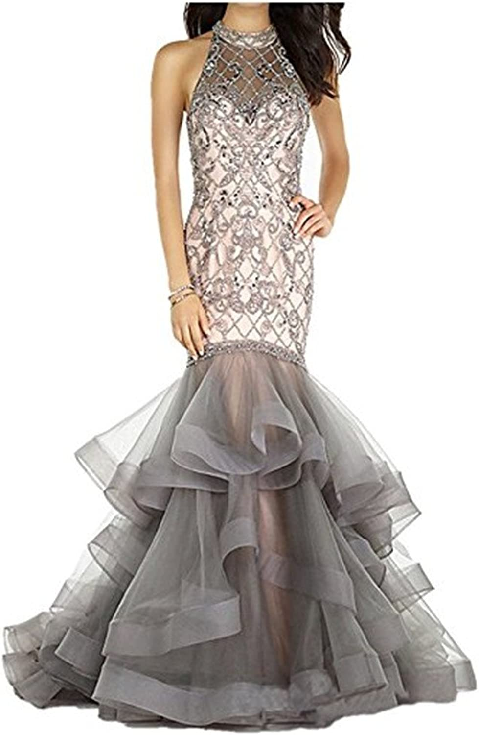 LEJY Women's Ruffle Mermaid Evening Dress Sparkly Halter Prom Dress ..