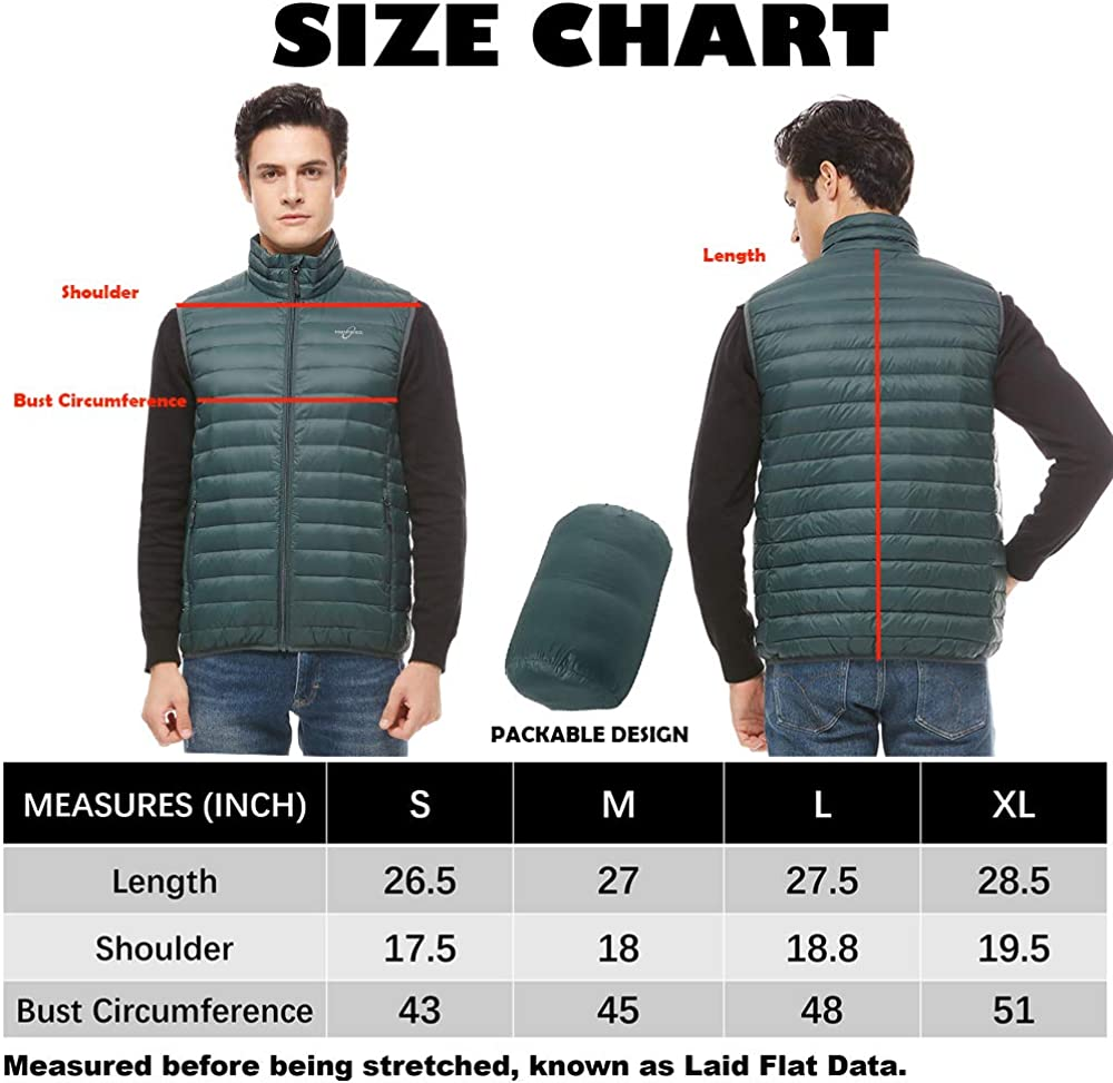 universo Men's Lightweight Packable Down Vest Stand Collar Outdoor Insulated Puffer Vest with Pockets(Alpine,S)