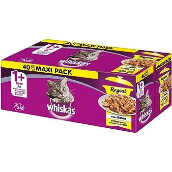 Whiskas 1 + Katzenfutter Ragout – Abwechslungsreiches Nassfutter in Gelee in verschiedenen Geschmacksrichtungen – Portionsbeutel à 85g